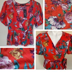 Red floral wrap top shirt large 12 10 blouse green